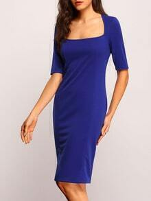 Blue Short Sleeve Sheath Split Dress