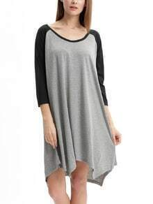 Grey Black Long Sleeve Color Block Asymmetric Dress