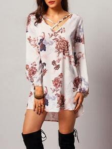 White Long Sleeve Floral Dress