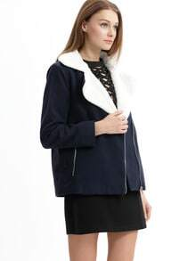Navy Long Sleeve Lapel Jacket