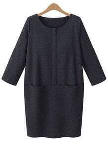Grey Round Neck Pockets Loose Dress