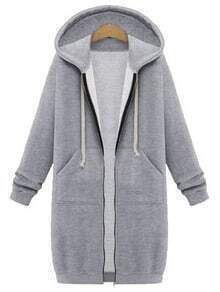 Grey Hooded Long Sleeve Zipper Loose Coat