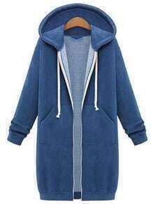 Royal Blue Hooded Long Sleeve Zipper Loose Coat