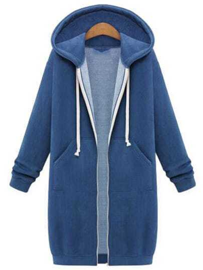 Royal Blue Hooded Long Sleeve Zipper Loose Coat