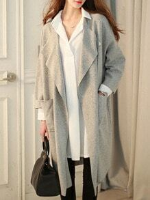 Grey Long Sleeve Pockets Loose Plus Coat
