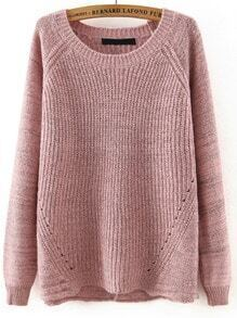 Pink Round Neck Cross Back Loose Sweater