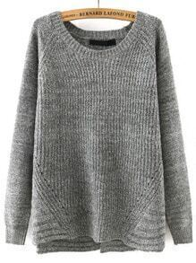 Grey Round Neck Cross Back Loose Sweater