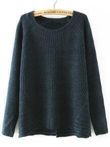 Navy Round Neck Cross Back Loose Sweater