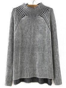 Grey Mock Neck Striped Patterned Sweater