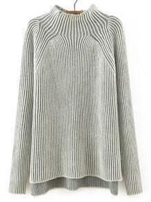 Light Grey Mock Neck Striped Patterned Sweater