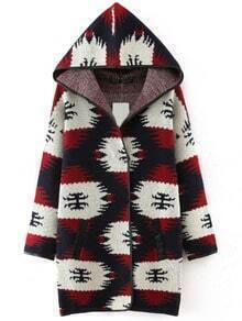 Red Hooded Contrast Trims Pockets Sweater Coat