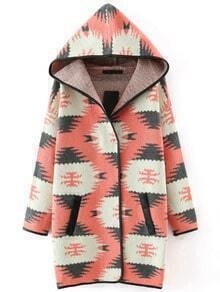 Pink Hooded Contrast Trims Pockets Sweater Coat