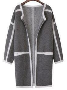 Dark Grey Contrast Trims Pockets Sweater Coat