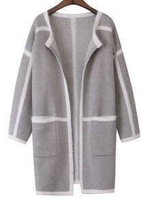 Grey Contrast Trims Pockets Sweater Coat