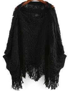 Black Round Neck Batwing Sleeve Tassel Sweater