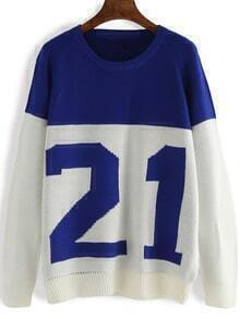Colour-block Round Neck 21 Print Sweater
