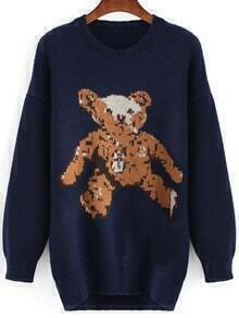 Navy Round Neck Bear Print Sweater