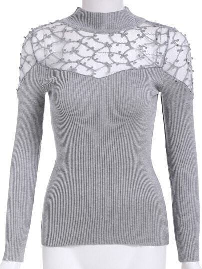 Grey Mock Neck Sheer Lace Slim Knitwear