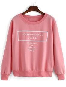 Pink Round Neck Letters Print Crop Sweatshirt