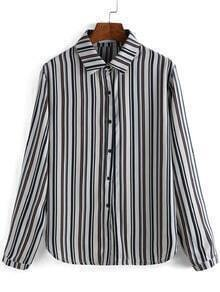 Colour Lapel Vertical Stripe Blouse