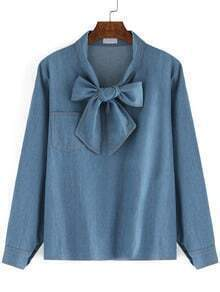 Blue Bow Collar Pocket Denim Blouse