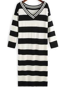 Black White V Neck Striped Sweater Dress