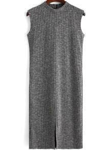 Grey Mock Neck Split Sweater Dress