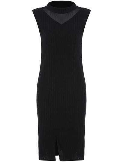 Black Mock Neck Sheer Mesh Split Sweater Dress