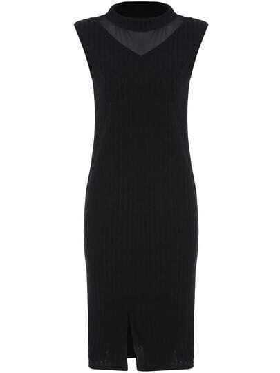Black Mock Neck Sheer Mesh Split Sweater Dress