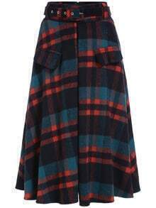 Colour Belt Plaid Woolen Skirt