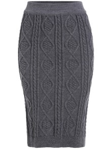 Grey Slim Diamond Patterned Sweater Skirt