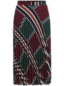 Colour Striped Pleated Skirt