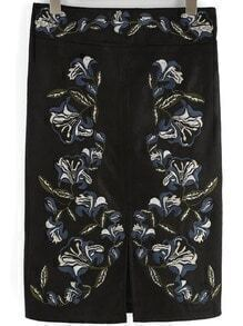 Black High Waist Embroidered Split Skirt