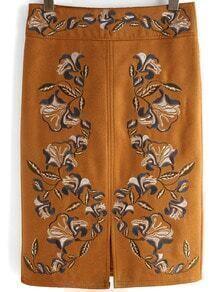 Khaki High Waist Embroidered Split Skirt
