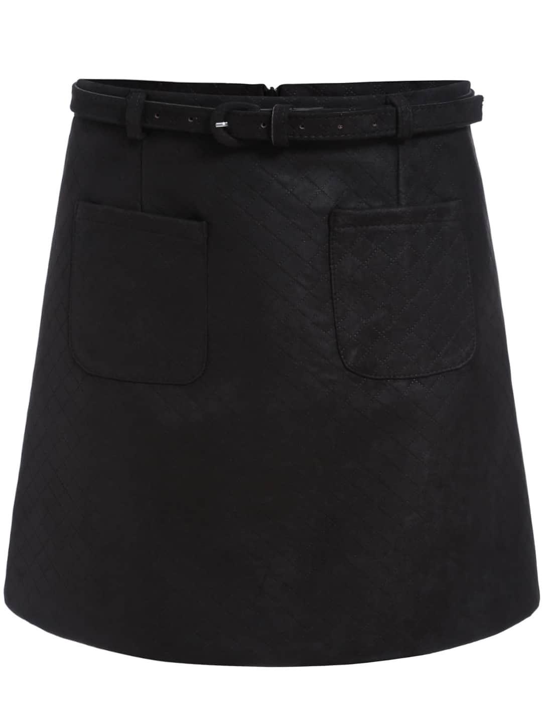 black pockets a line skirt shein sheinside