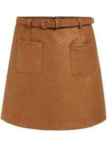 Khaki Pockets A Line Skirt