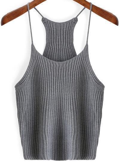 Grey Spaghetti Strap Sweater Cami Top