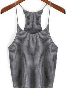 Grey Spaghetti Strap Sweater Cami Top