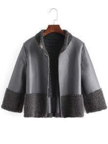 Grey Casual Crop PU Coat