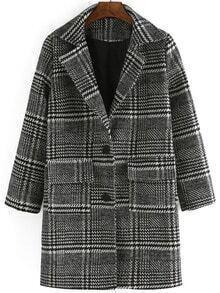 Black White Lapel Houndstooth Woolen Coat