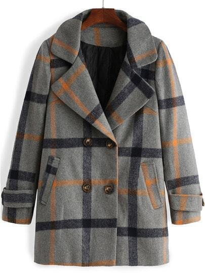 Colour Lapel Plaid Double Breasted Woolen Coat