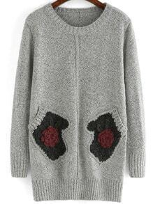 Grey Round Neck Gloves Patterned Sweater