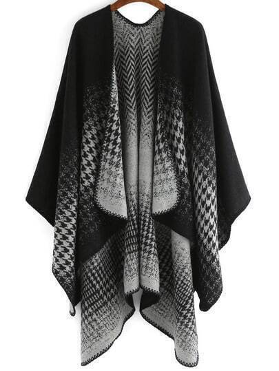Black Houndstooth Print Loose Cape
