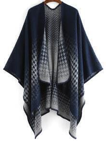 Blue Houndstooth Print Loose Cape