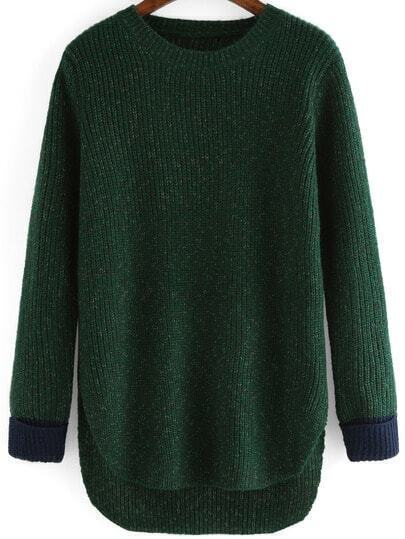 Green Round Neck Dip Hem Loose Sweater