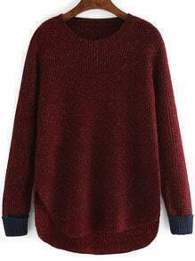 Burgundy Round Neck Dip Hem Loose Sweater
