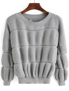 Grey Round Neck Puff Sleeve Crop Sweater