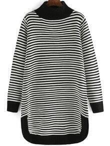 Black White Mock Neck Striped Sweater Dress