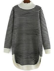 White Black Mock Neck Striped Sweater Dress