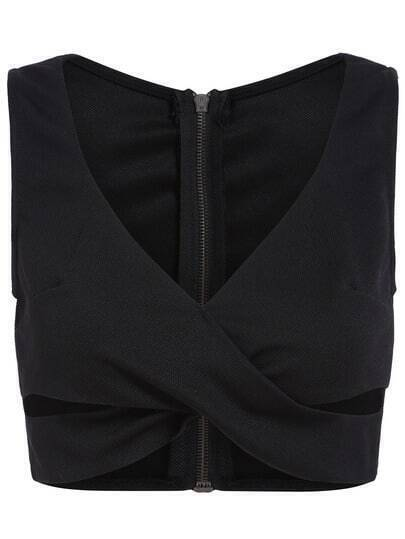 Black V Neck Cross Front Tank Top